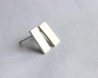 Studs Earrings, Sterling silver  Rectangular Earrings, Delicate Simple Tiny earrings,  Finish  brushed, Post earrings