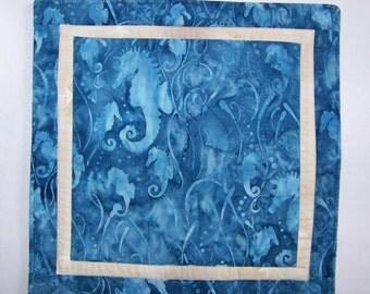 Blue Ocean Seahorses  Mini Quilt Table Runner Candle Mat or Pot Holder