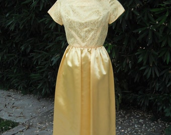 Vintage Yellow Satin and Lace Dress / Satin and Lace / Tea Length Dress