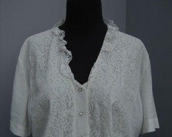 Vintage 50s/60s White Lace Blouse, Lady Lee Mar California, Nylon Blouse, Ladies Career Blouse, Secretary Blouse