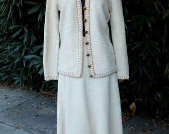 Vintage 1970s St. John Knits Two Pc. Skirt and Sweater Set, ECRU or Creamy White St. John Knits Suit, Skirt and Jacket Set, Medium
