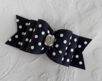 "Dog Bow- 7/8"" Navy Swiss Dot Double Loop Dog Bow"