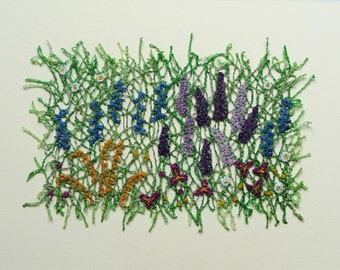 Herbaceous Border – lacy machine embroidery – unframed textile art