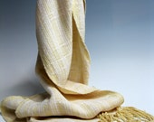 Handwoven Silk and Bamboo Scarf: Butter and Cream