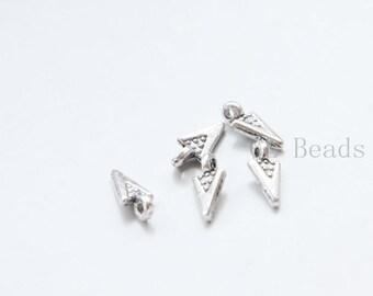 200pcs Oxidized Silver Tone Base Metal Charms - Arrowhead 10x5mm (797Y-B-496)