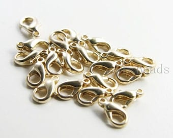 20pcs Bright Gold Plated Brass Base Lobster Clasps-12mm (322C-I-211) W