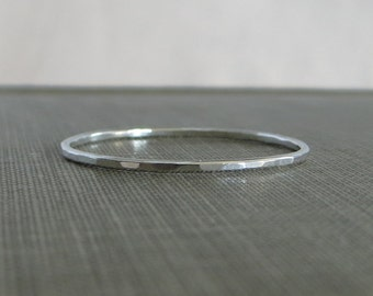 Thin Sterling Silver Stackable Ring - 1 Ring - Super Slim 1mm - Argentium Sterling Silver - Simple Modern Minimal Ring