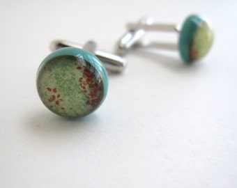 Turquoise and Pale Amber Glass Planet Cufflinks
