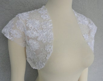 Bridal Wedding Bolero Shrug David Tutera White Mesh Fabric Ribbon Rose And Sequins