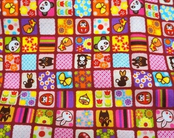 Colorful patchwork style print Fat Quarter  A7