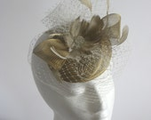 Gold and ivory mother of the bride hat - gold fascinator - Ladies gold horsehair derby hat