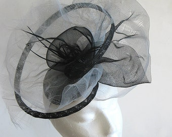 Black and grey wedding fascinator -  kentucky derby hat - mother of the bride hat