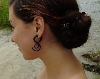 Fake gauge Earrings - Organic  Horn, Split Gauge Sprial  Earrings Fancy Tribal Fake piercings