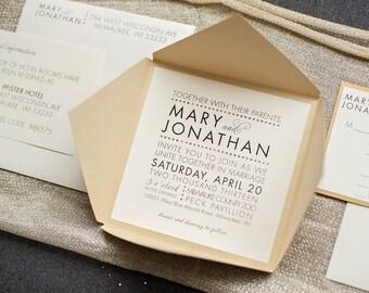 Glam Modern Luxury Metallic Gold Wedding Invitations | Mary And Jonathan