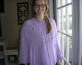 "Knitted ladies Poncho - Orchid with ""V"" Pattern"