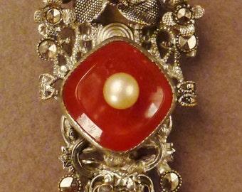CZECH Art Deco FUR CLIP Pearl Carnelian Marcasite app 2 x 1 vintage Signed silvertone