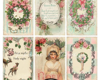 Pink Christmas --Digital Scrapbooking-Collage Sheet-Digital Card-Digital Image
