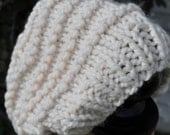 Knit White Slouchy Hat - Womens Chunky Knit Winter Hat - Ladies Warm Tam - Teen Slouchy Stocking Cap - Beanie - Ivory White