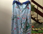 Dress Vintage sz AU 8 US 4 womens retro nautical cute blue casual 60s summer