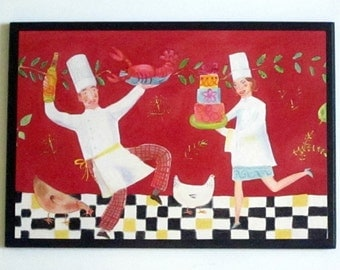 Chefs Kitchen Wall Decor Plaque Cooking Couple Dancing red chef sign