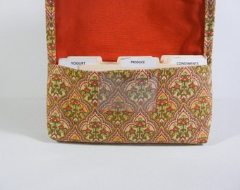Coupon Organizer Holder Gold and Rust  Heavy Duty Upholstery Fabric Ready to ship