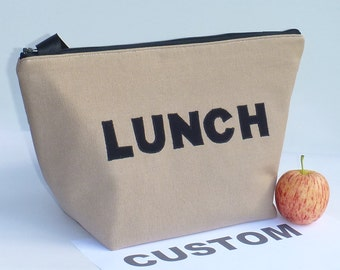 Custom Insulated Lunch Bag Tote Made to order Zip Choose your Fabric Lunch Bag  by BonTons Gifts