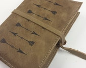 Leather Journal - Leather Sketchbook Cover - Personalize - Monogram - Arrows