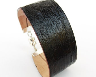Birch bark wood bracelet in brown, The Small