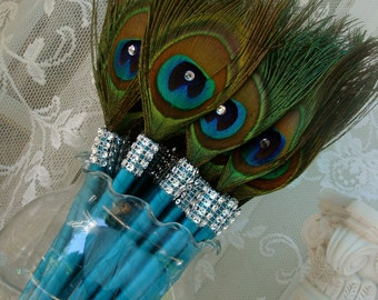 SALE!  25 Peacock Feather Pen Favors with Bling in your choice of colors