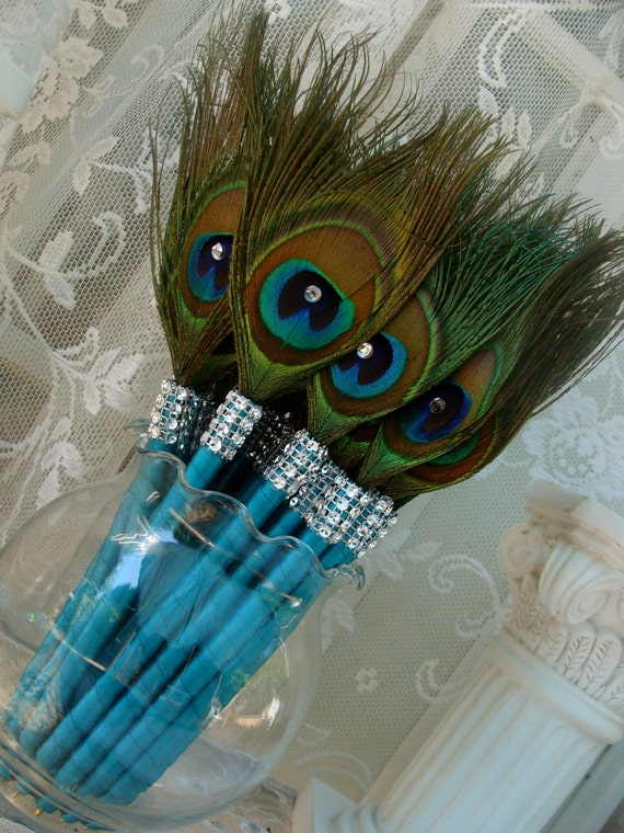 Items Similar To Sale 25 Peacock Feather Pen Favors With