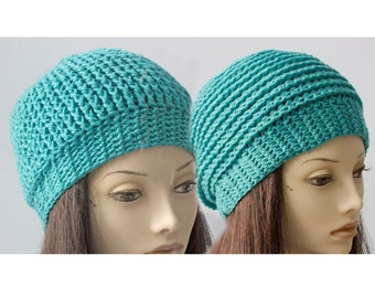 Reversible Crochet Hat, Vegan  Slouchy Beanie, Like Getting Two Hats In One, Aqua  Hat, Ready to Ship