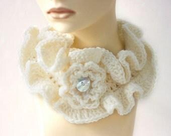 White Ruffled Cowl Scarf Neckwarmer,  Crochet Ruffle Scarf, Flower Button Closure, Ruffle Collar