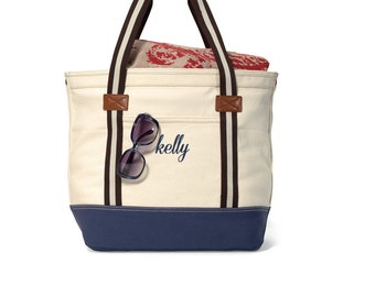 New - Personalized Canvas Tote Bag - HAMPTON Boat - large
