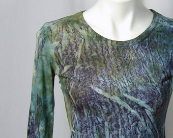 River and Forest Shadows and Light DevoTee, a Hand-dyed Organic Cotton and Bamboo Tee (small)