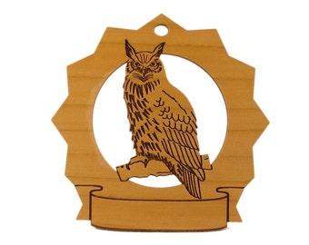 Owl Personalized Wood Ornament