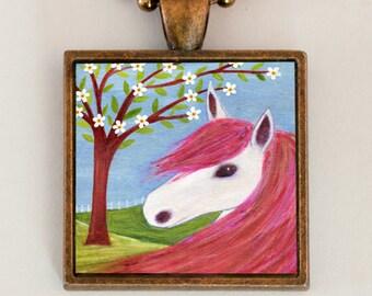 Horse Pony Pendant Necklace Handmade Art Jewelry