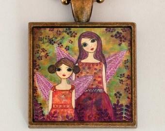 Fairy Sister Pendant Necklace Handmade Folk Art Jewelry
