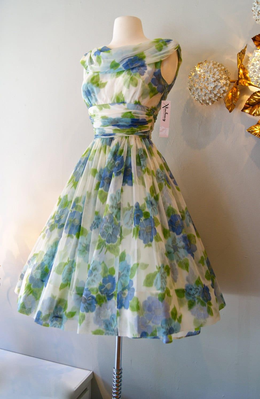 50s Dress Vintage 1950s Chiffon Garden Party Dress S