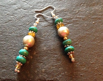 Turquoise Sterling Silver Brass Beaded Dangle Earrings -- 2.5 inches Long -- ER-BEAD-2