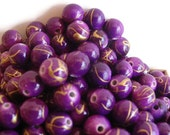 100 Round Drawbench Beads, Jewelry making Supply,  Purple Drawbench style beads, golden thread-like patterns,  Acrylic bead