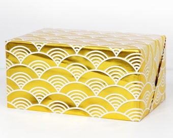 Waves Gold Foil Wrapping Paper