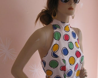 Vintage 1980 Backless Sleeveless Polka Dot White Cotton Halter Dress