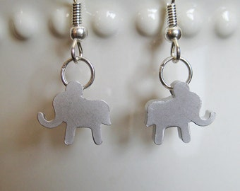 Elephant Earrings - White Gold Plated - Lucky Earrings - Elephant Jewelry - Animal Jewelry