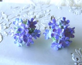 Vintage Forget Me Not earrings in bone china  porcelain - marked Made in England