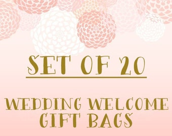 Set of 20+ Wedding Welcome Gift Bags- Bulk Discount