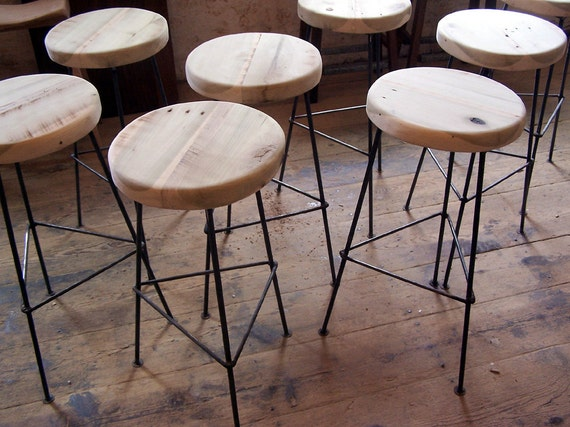 FREE SHIPPING - Factory Style Reclaimed Wood Bar Stools with smooth Metal Legs & FREE SHIPPING Factory Style Reclaimed Wood Bar Stools with islam-shia.org