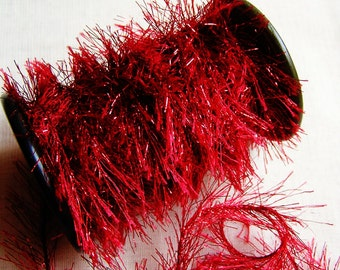 Ruby Red Jewel Tinsel Sparkly cording trim- craft trim, glitter twine, wedding craft embellishment, doll miniature making-5 yds