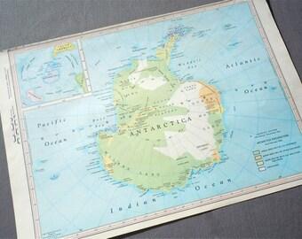 ANTARCTIC 1960s retro map paper ephemera . wall decor . vintage book page