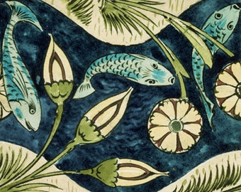 Fish and Lilies by William de Morgan on mono deluxe Needlepoint Canvas