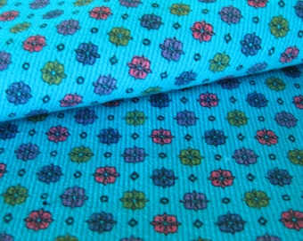 Vintage Cotton Fabric Small Print in Bright Aqua Blue - Geometric and Floral in Pink and Purple
